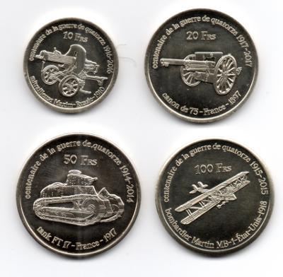 Bassas: pamětní sada 4 mincí 10-100 francs 2014-2017 UNC 1.sv.válka