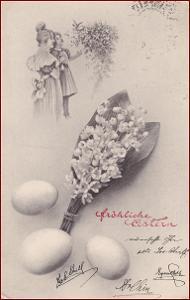 Velikonoce * konvalinky, kytice, vajíčko, žena, muž * M1605