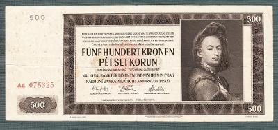 500 korun 1942 serie AA !!! NEPERFOROVANA