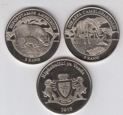 Venda: kompletní sada 2 mincí 2x 5 rand 2018 UNC - fauna