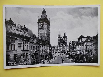 Praha Orloj Staroměstské náměstí  zlaté razítko pamětní Masaryk 1935