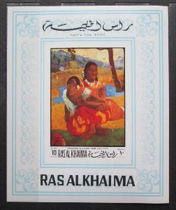 Rás al-Chajma 1970 Umění, Gauguin neperf. Mi# Block 82 B Kat 20€ 0883