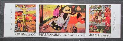 Rás al-Chajma 1970 Umění, Gauguin neperf. Mi# 392-94 B Kat 12€ 0883
