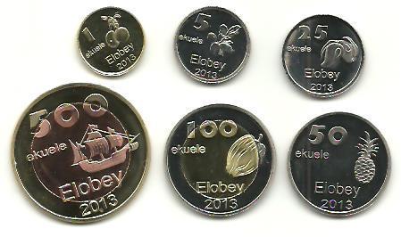 Elobey: kompletní sada 6 mincí 2013 UNC - potraviny a loď
