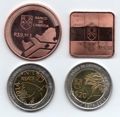 Cabinda: kompletní sada 4 pamětních mincí 2013-14 UNC - různé události