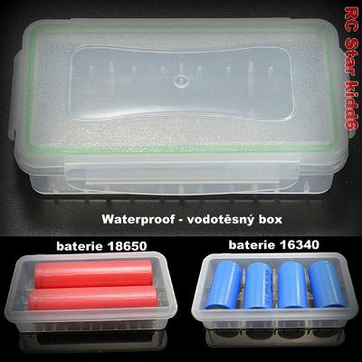 Vodotěsný BOX pro baterie 18650/CR123A/16340 nebo RC elektroniku