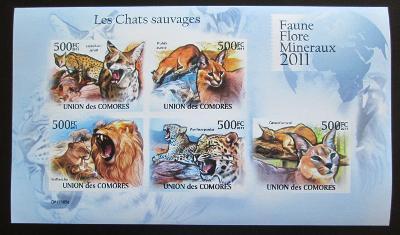 Komory 2011 Kočkovité šelmy neperf., vzácné Mi# 3058-62 B 0906