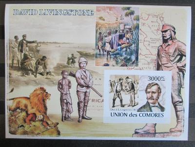 Komory 2009 David Livingstone neperf., vzácná Mi# Bl 461 B 1150