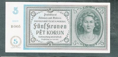 5 korun 1940 serie B NEPERFOROVANA stav 1+