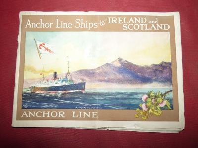 Zámořské plavby-lodní propagační knížka, okolo 1920 s vyobrazením různ
