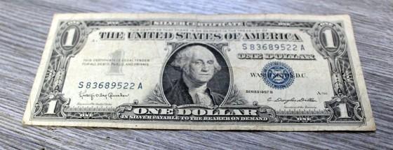 1 dollar USA  1957 silver certificate  Z OBĚHU  stav 3-4