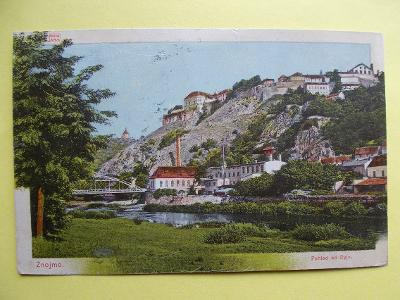 Znojmo diorama vydal Schebela 1906 pohled od Dyje most prošlá se známk