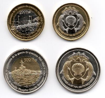 Juan da Nova: pamětní sada 2 mincí 200+500 francs 2018 UNC 1.sv.válka