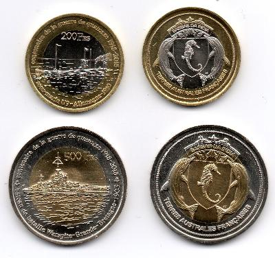 Bassas da India: pam. sada 2 mincí 200+500 francs 2018 UNC 1.sv.válka