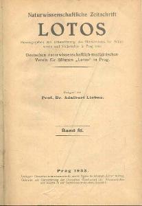 NATURWISSENSCHAFTLICHE ZEITSCHRIFT  LOTOS  BAND 81   1933
