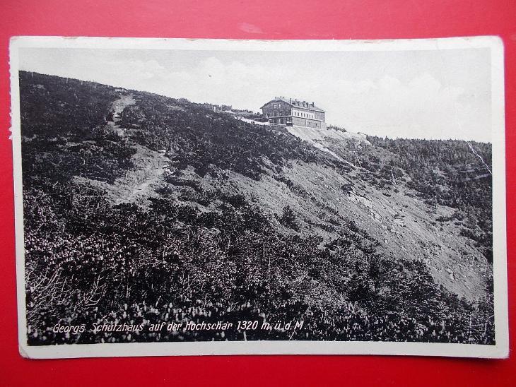 Sudety Sudetengau Jeseníky Frývaldov Šerák Jiřího chata razítko 1933 - Pohlednice