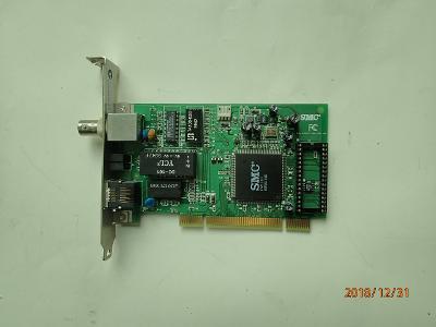 Historická síťová PCI karta BNC+RJ45 vzácná varianta SMC pro sběratele