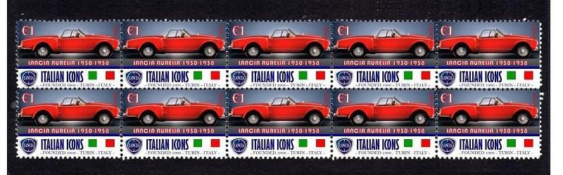 LANCIA - arch s poštovními známkami 10 ks více druhů