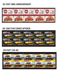 FIAT - arch s poštovními známkami 10 ks více druhů
