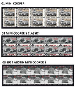BMW MINI COOPER - arch s poštovními známkami 10 ks více druhů