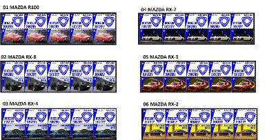 MAZDA - arch s poštovními známkami 10 ks více druhů