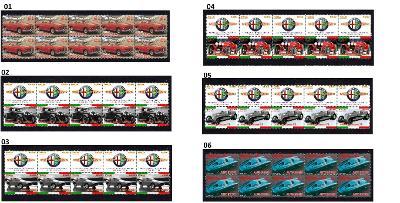 ALFA ROMEO - arch s poštovními známkami 10 ks více druhů