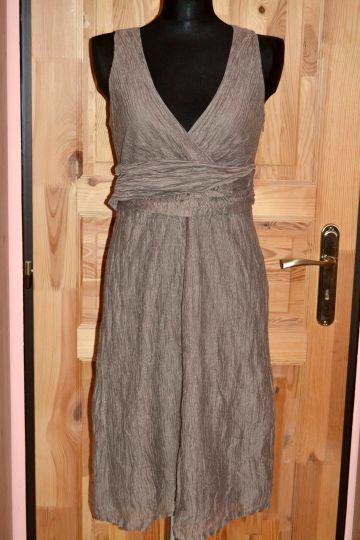 Krásné hnědošedé šaty s kapsami Cinque, vel. M