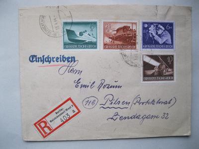 Dopis z Berlína zaslaný do Plzně a vyplacený vojenskými známkami.