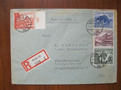 Doporučený dopis zaslaný z Berlína do Feuerbachu