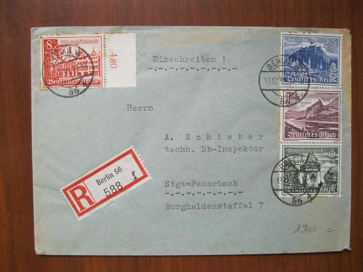 Doporučený dopis zaslaný z Berlína do Feuerbachu - Filatelie