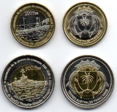 Glorieuse: pamětní sada 2 mincí 200+500 francs 2018 UNC 1.sv.válka