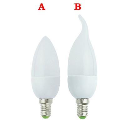 LED žárovka E14 3W svíčka 2835SMD 220V teplá bílá styl A