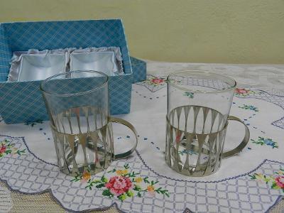 Zajímavé retro Hrnky Sklenice Chrom montáž 2 kusy původní balení