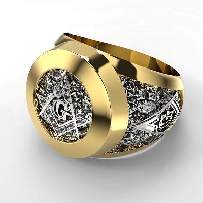 Prsten zednářský Řad Zednářů zirkony zlacený Nerez 17 19 20 21mm