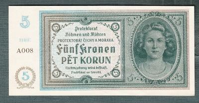 5 korun 1940 serie A008 NEPERFOROVANA stav 1