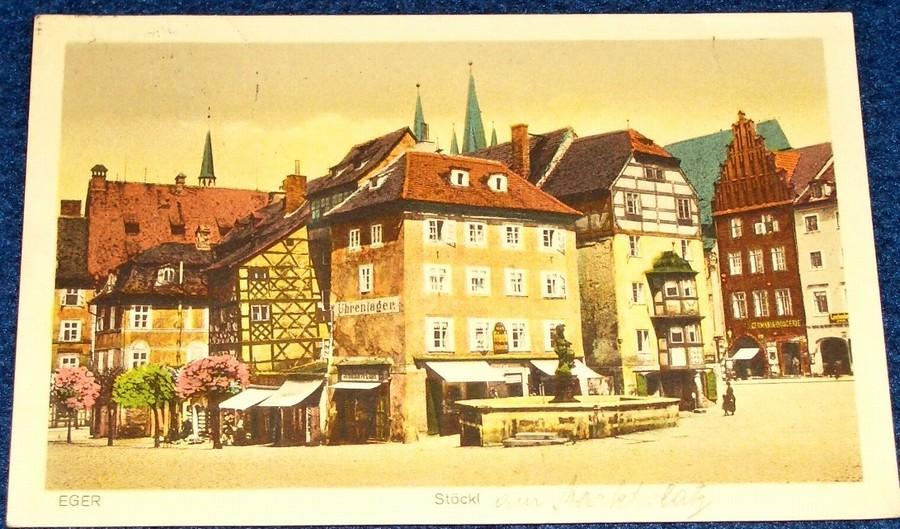 Cheb (Eger) - Stöckl,  v barvě 1928  - Pohlednice