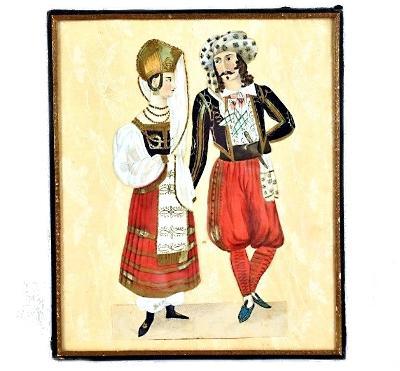 Starožitný obraz-akvarel/kvaš