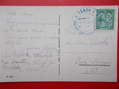 České Budějovice Tábor Slet Sokol příležitostné razítko Kraj 1935 lux