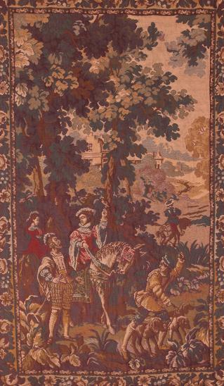 Lovecký gobelín / tapiserie. Sokolnictví - Umění