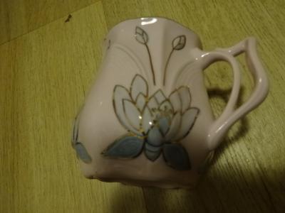 Hrnek mušlák Chodov Karlovarský porcelán růžový HC Czechoslovakia