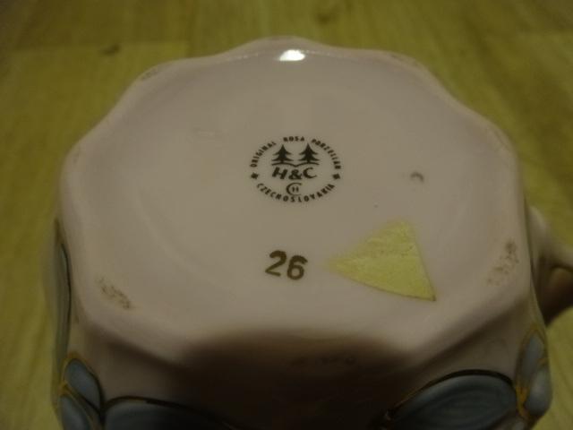 Hrnek mušlák Chodov Karlovarský porcelán růžový HC Czechoslovakia - Porcelán
