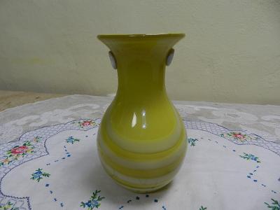 Zajímavá stará autorská žlutá krémová Váza