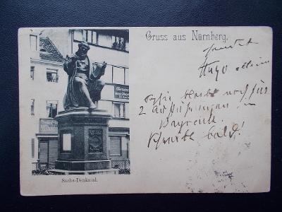 Německo Říše Bavorsko Norimberk Nürnberg Sachs Denkmal  pomník dlouhá