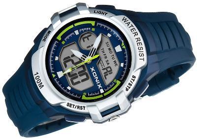Sportovní hodinky XONIX, stopky, budík, 3x čas, vodotěsné 100M