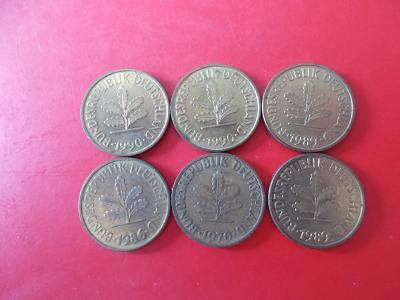 Sada konvolut Německo marka pfennig deset 10  mince  různé ročníky