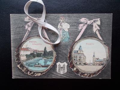 Přerov znak erb Bečva náměstí obrázky na dřevě  koláž sbírkový kus