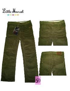 Kalhoty manšestrové chlapecké zelené LITTLE MARCEL > 146/152