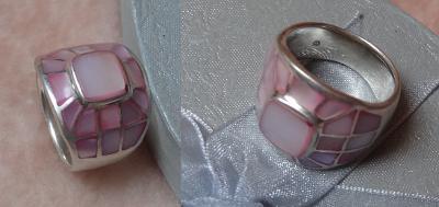 Perleťový prstýnek s růžovou PERLETÍ, styl TIFFANY, hand made