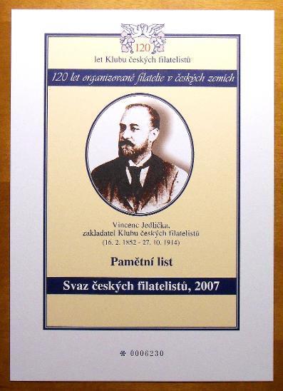 2007 Pamětní list - 120 let Klubu českých filatelistů