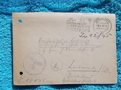 Německá Říše okupace orlice svastika Litoměřice poddůstojník polní poš